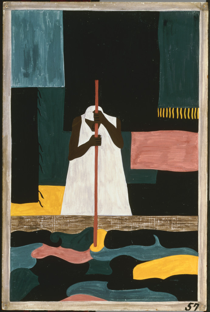 """Jacob Lawrence, The Migration Series Panel no. 57 """"The female workers were the last to arrive north,"""" 1940-41. Casein tempera on hardboard, 18 x 12 in. Acquired 1942. The Phillips Collection, Washington, DC"""