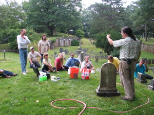 Jason Church talks with a class about cleaning techniques for historic stone. Image provided by Jason Church.