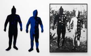 Elaine Reichek, <i>Blue Men</i>, 1986. Knitted wool yarn and oil on gelatin print, 63 x 96 in.  Courtesy of the artist and Zach Feuer Gallery, New York.