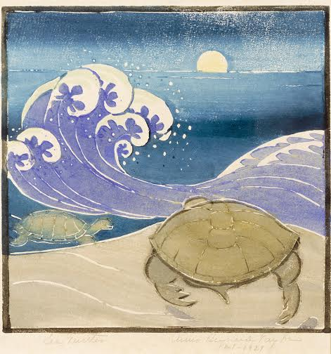 Sea Turtle, 1929 By Anna Heyward Taylor (American, 1879–1956) Woodblock print on paper Image courtesy of the Gibbes Museum of Art/ Carolina Art Association