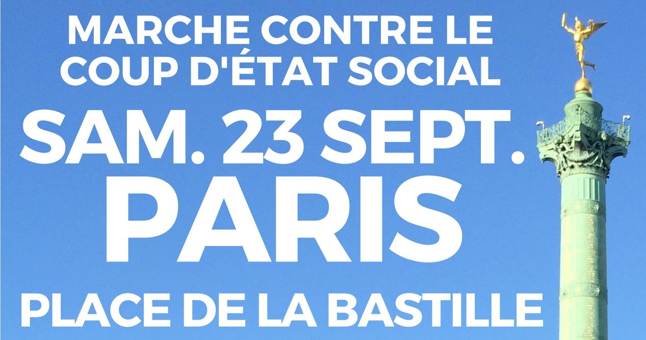 Poster of France Unbowed 23 September march