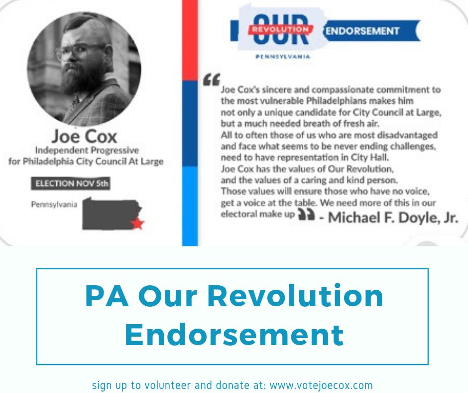 'Our Revolution Pa endorsement