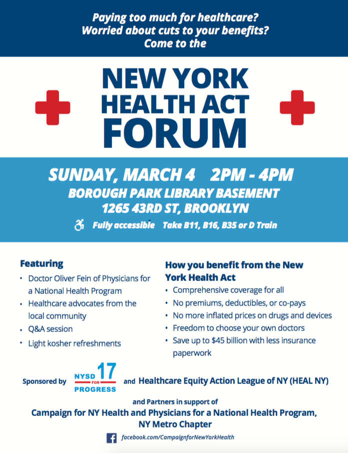 District 17 Healthcare Forum: The New York Health Act