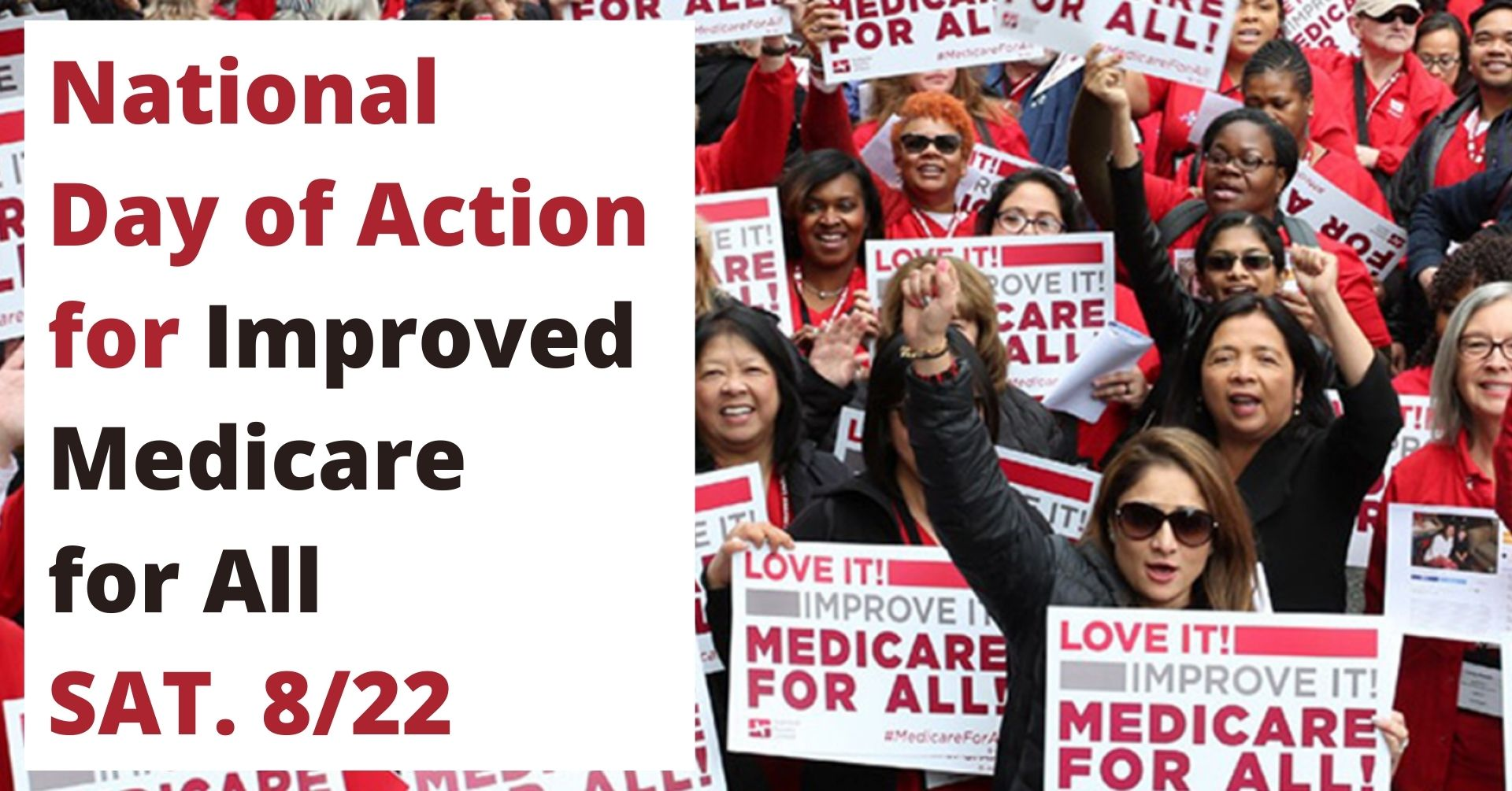 Photo of nurses, healthcare workers and improved medicare for all supporters, many with fists in air and look like they are chanting, are holding National Nurses United signs that are white with red words on first line \