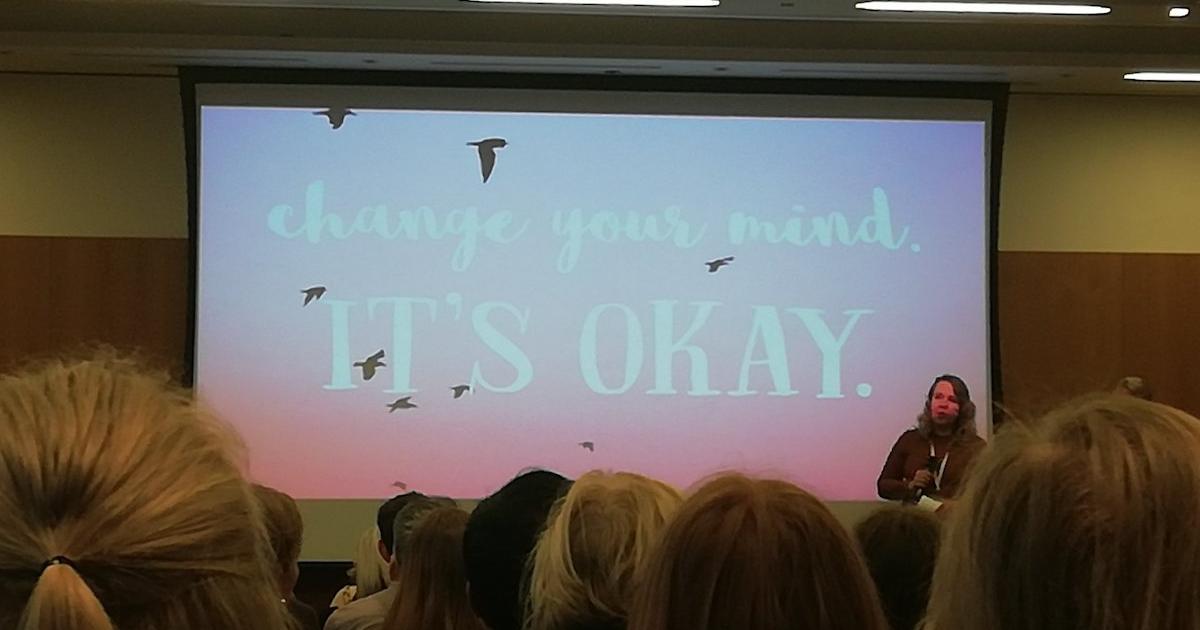 Laura Osborne speaking at Charity Comms
