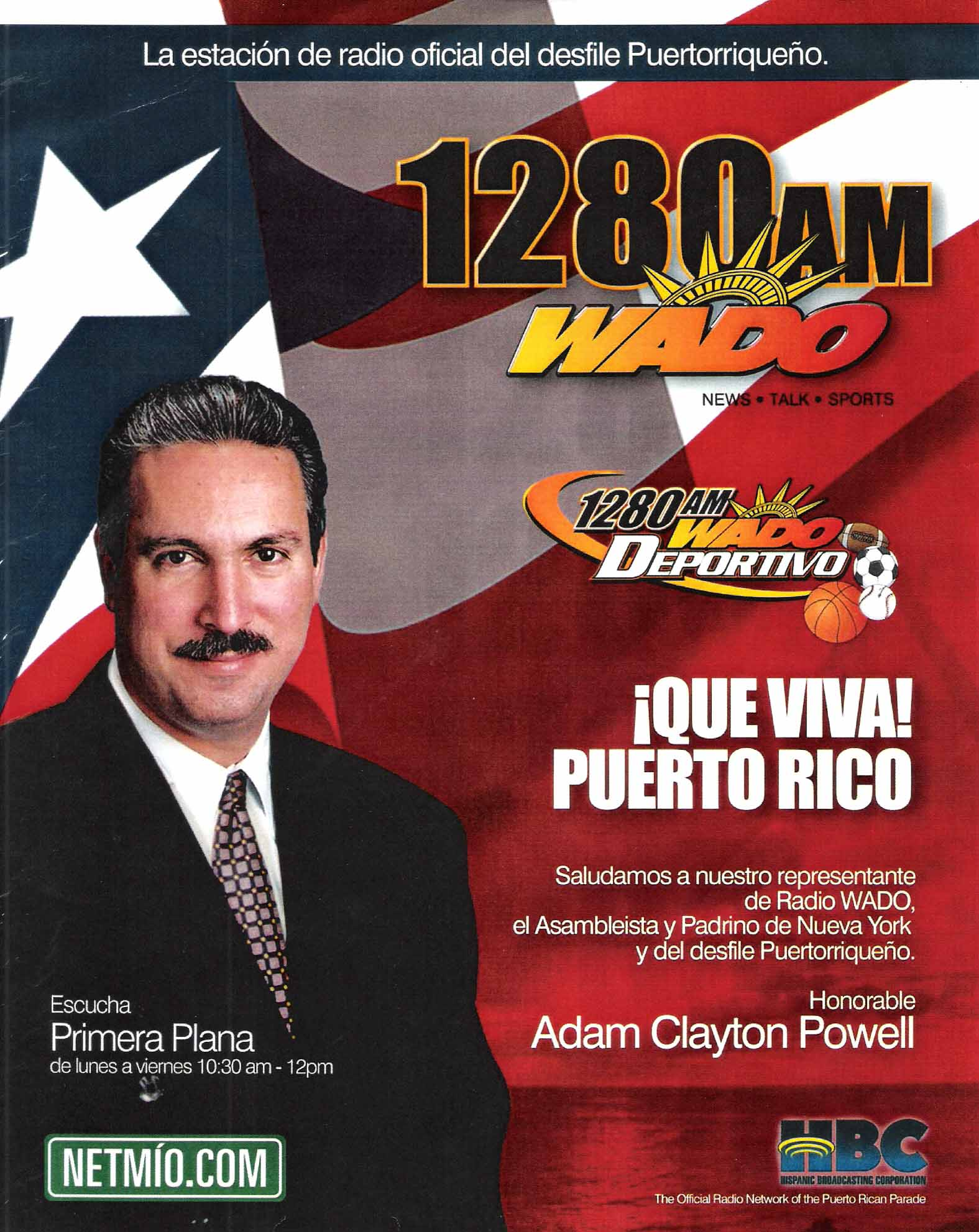 Adam was a host for Radio WADO 1280 AM and Godfather of the Puerto Rican Day Parade