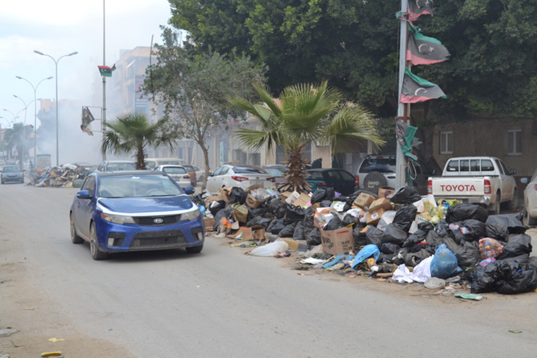 Garbage piled high along the streets of Benghazi.