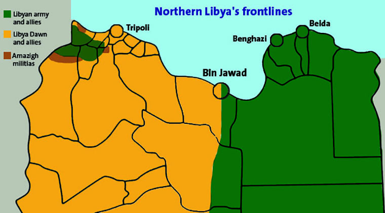 Map of Libya, with political allegiances outlined.
