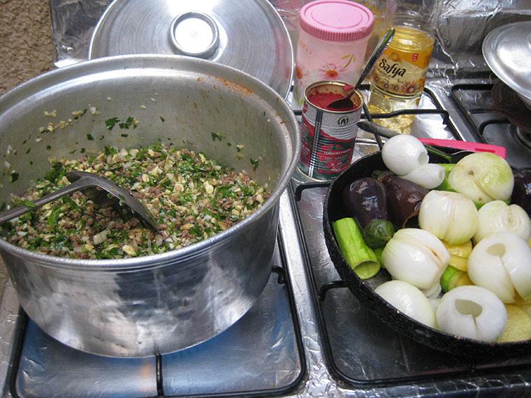 The Kurdish dish yaprak being prepared.