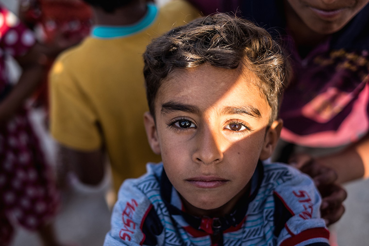 A young boy displaced from his home by ISIS.