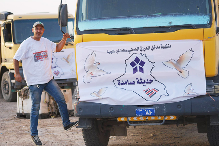 Emergency relief aid is loaded up into trucks and on the way to the airport, en route to Haditha, Iraq. Haditha has been besieged by ISIS and it's residents are in dire need.