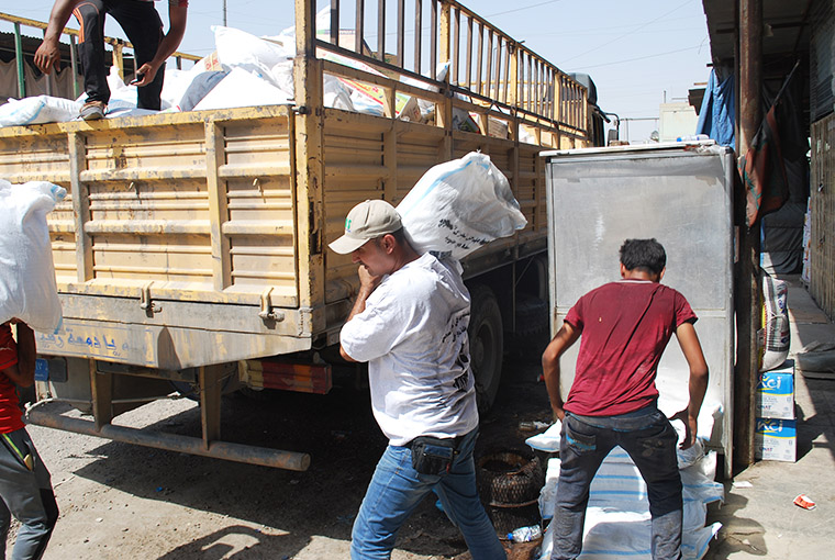 Emergency relief supplies for Haditha, a city besieged by ISIS, were loaded for the trip during a brutal heatwave. Temperatures topped 120 degrees F.