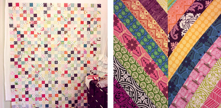 Two quilts that Karen Savage plans to raffle in order to provide a small business grant to a displaced woman in Iraq.