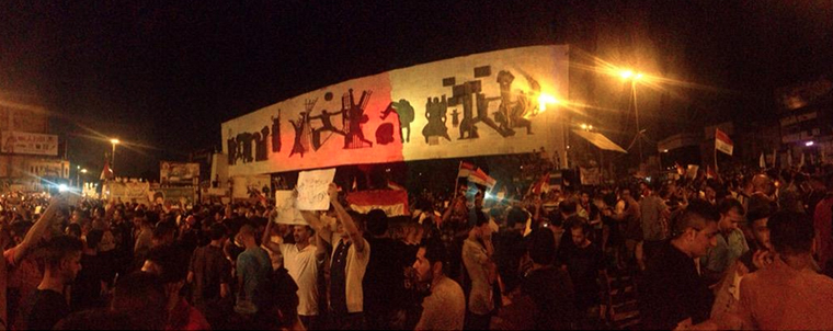 Nighttime protests in Baghdad's Tahrir Square.