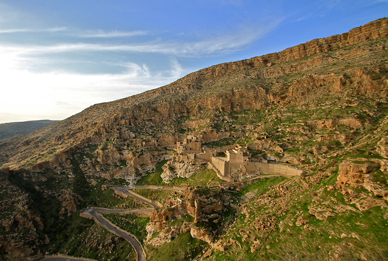 Overlooking the ancient Assyrian Christian village of Alqosh in Iraq. The monastery was founded around 640 AD.