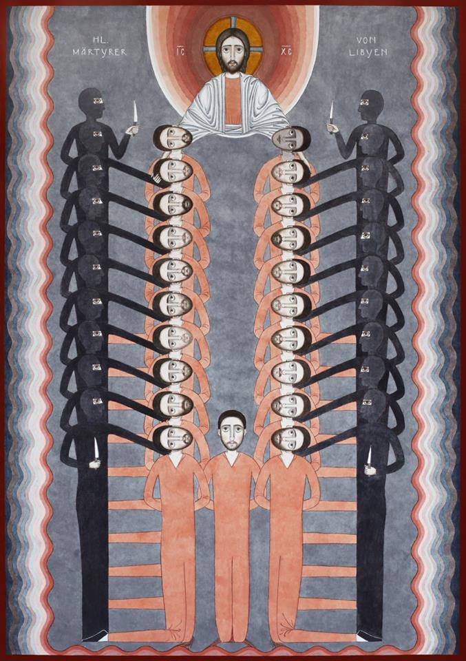 Nikola Saric's work '21 Libyan Martyrs, 2015' portrays the Egyptian Coptic Christians killed by ISIS in February 2015.