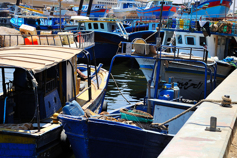 Fishing boats in the harbour of Benghazi, Libya.
