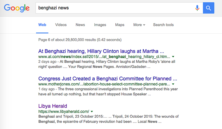 This morning it required scrolling through 6 pages of Google results before news of the City of Benghazi appeared.