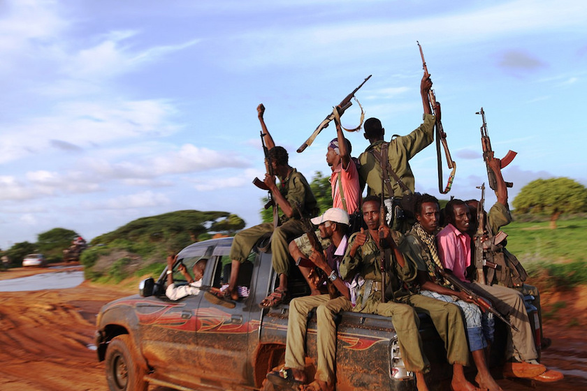 A photo of Al Shabaab militants in Somalia