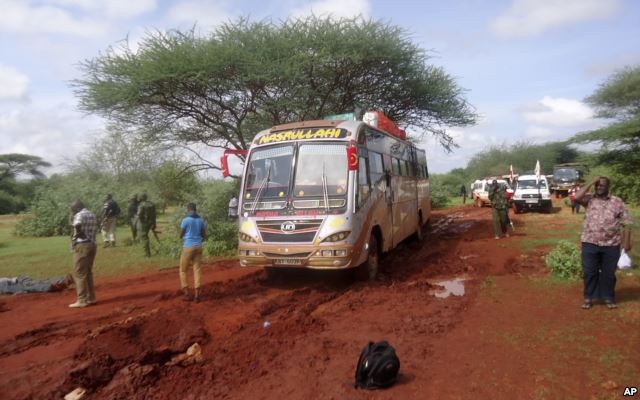 A photo of the bus stopped by al Shabab in northern Kenya.