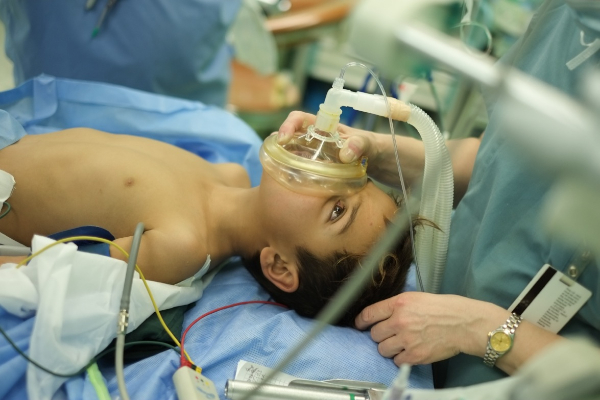 A photo of Hamma on the operating table before his heart operation.
