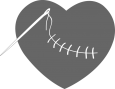 An image of a needle and thread stitching a heart.