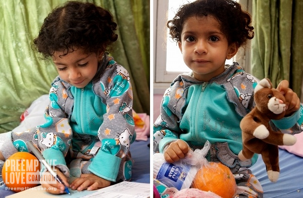 Two photos of Zahraa writing and giving away her doll.