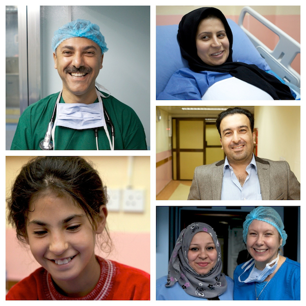 A photo collage of doctors, nurses, and patients working at Al Sadr Teaching Hospital in Basra, Iraq.