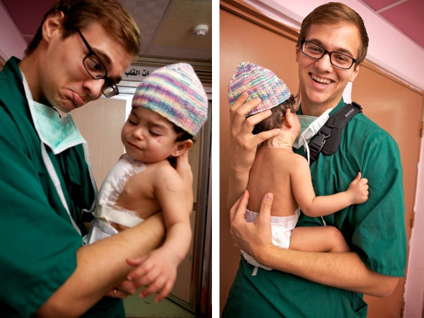 A photo of Matt Willingham with the sweet little Zainab Ali after her lifesaving heart surgery in Najaf, Iraq.