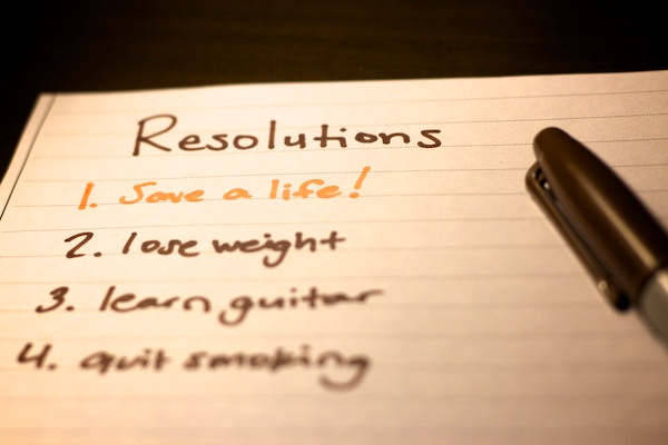 A photo of a list of resolutions for 2012.