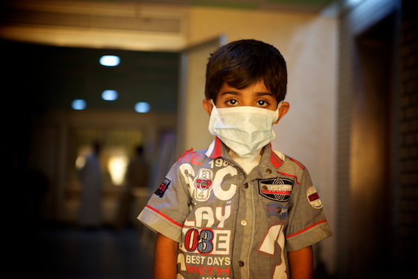 A photo of Hassin on the children's ward after his lifesaving heart surgery in Najaf, Iraq.