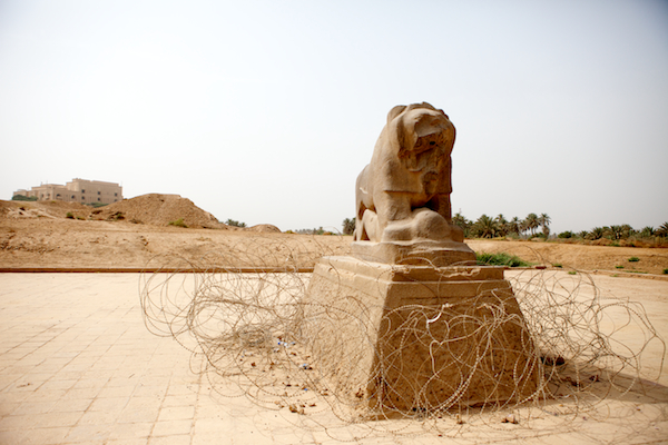 A photo of the Lion of Babylon outside the Procession Way in Babil, Iraq near Hilla.