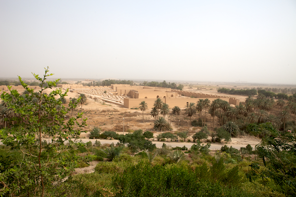 A photo of the rebuilt ruins of Babylon as seen from Saddam's palace.