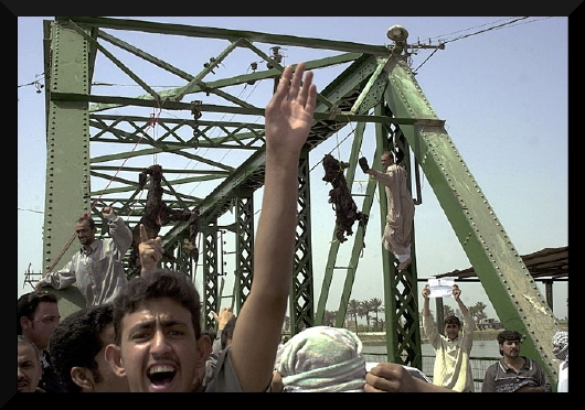 A photo of the killing of 4 Blackwater mercenaries in 2004.