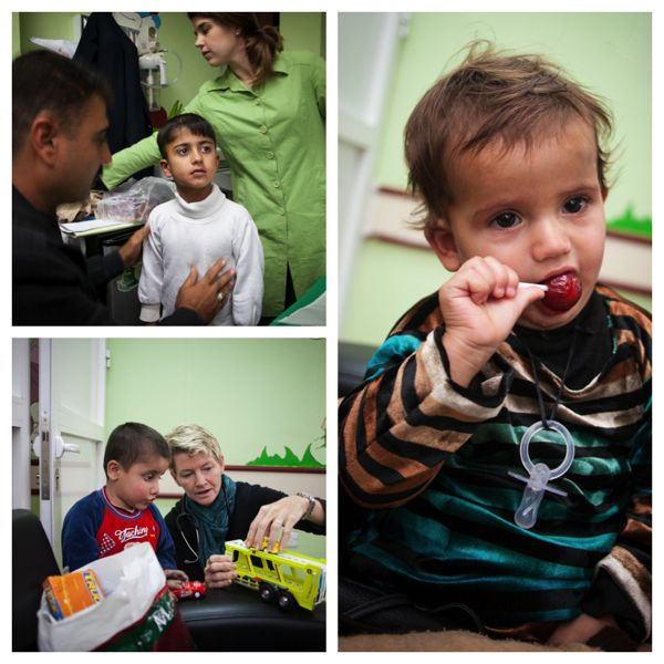A collage of children being screened at the Sulaymaniyah Heart Center.