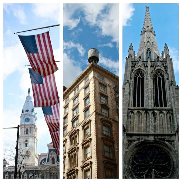 A photo collage of buildings in New York City and Philadelphia.