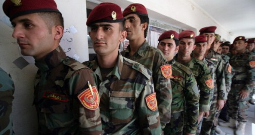 Kurdish peshmerga line up to vote