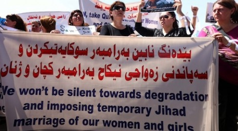 Kurdish women protest mistreatment of other women by ISIS militants
