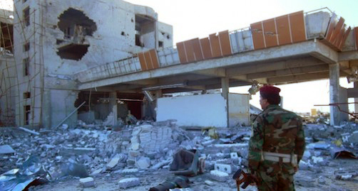 Remains of the hospital in Rabia where IS fighters ambushed Kurdish military.