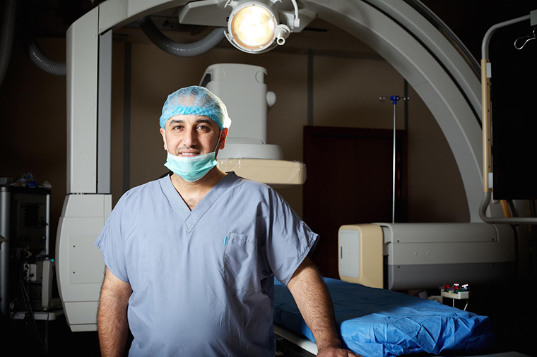 Dr. Firas al Kubaisy takes a moment to pose for a photo in the hospital in Fallujah, Iraq.