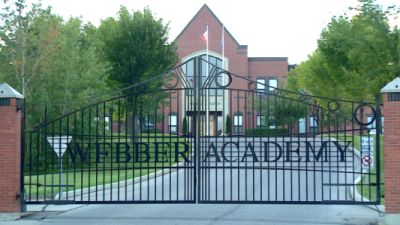 The gates of Webber Academy, an elite private school in Calgary