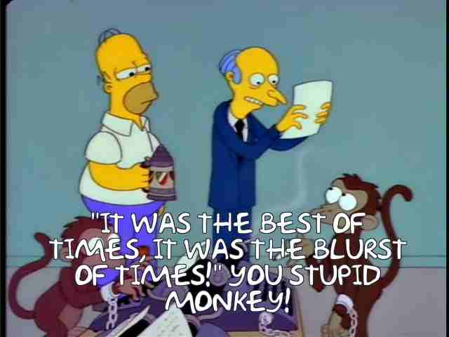 Image: the 'monkeys on typewriters' scene from The Simpsons