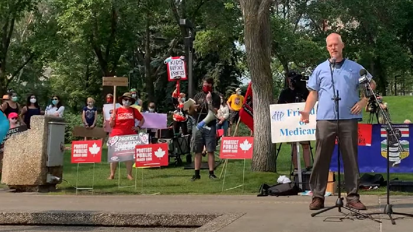 Dr. Joe Vipond, a frequent critic of UCP COVID policy, speaks at an Aug. 3rd rally in Edmonton