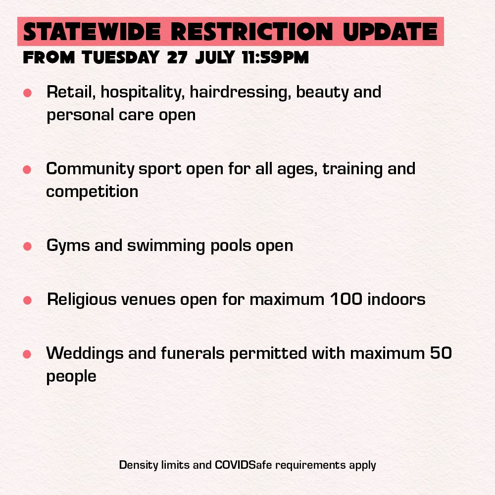 COVID Restrictions Update 28.7.21