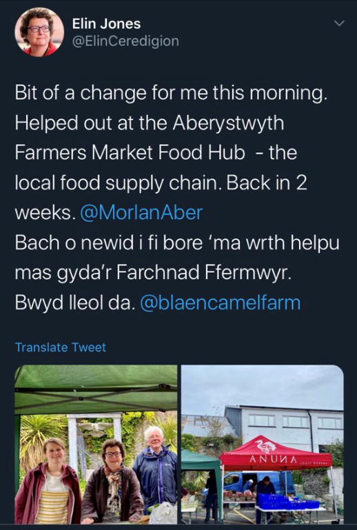 Image of the Presiding Officer at a Farmers Market