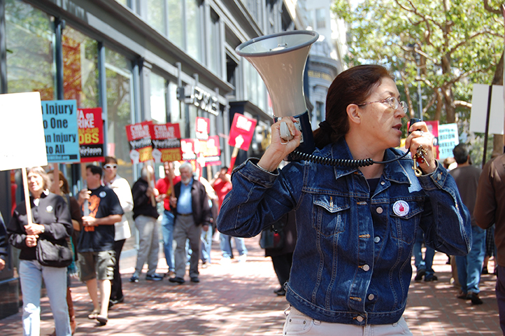 Gloria La Riva on the picket line