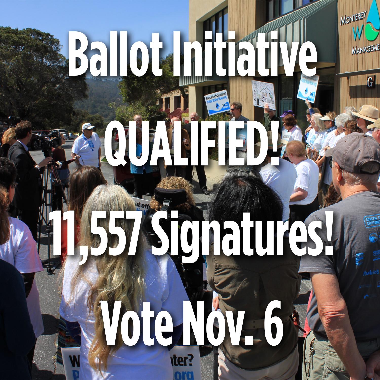 Ballot Initiative Wins - 11,405 Signatures