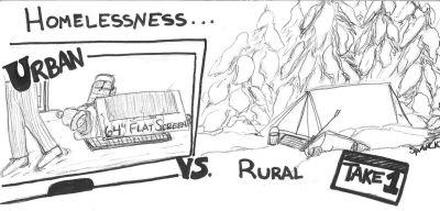 Cartoon: Urban vs. Rural Homelessness