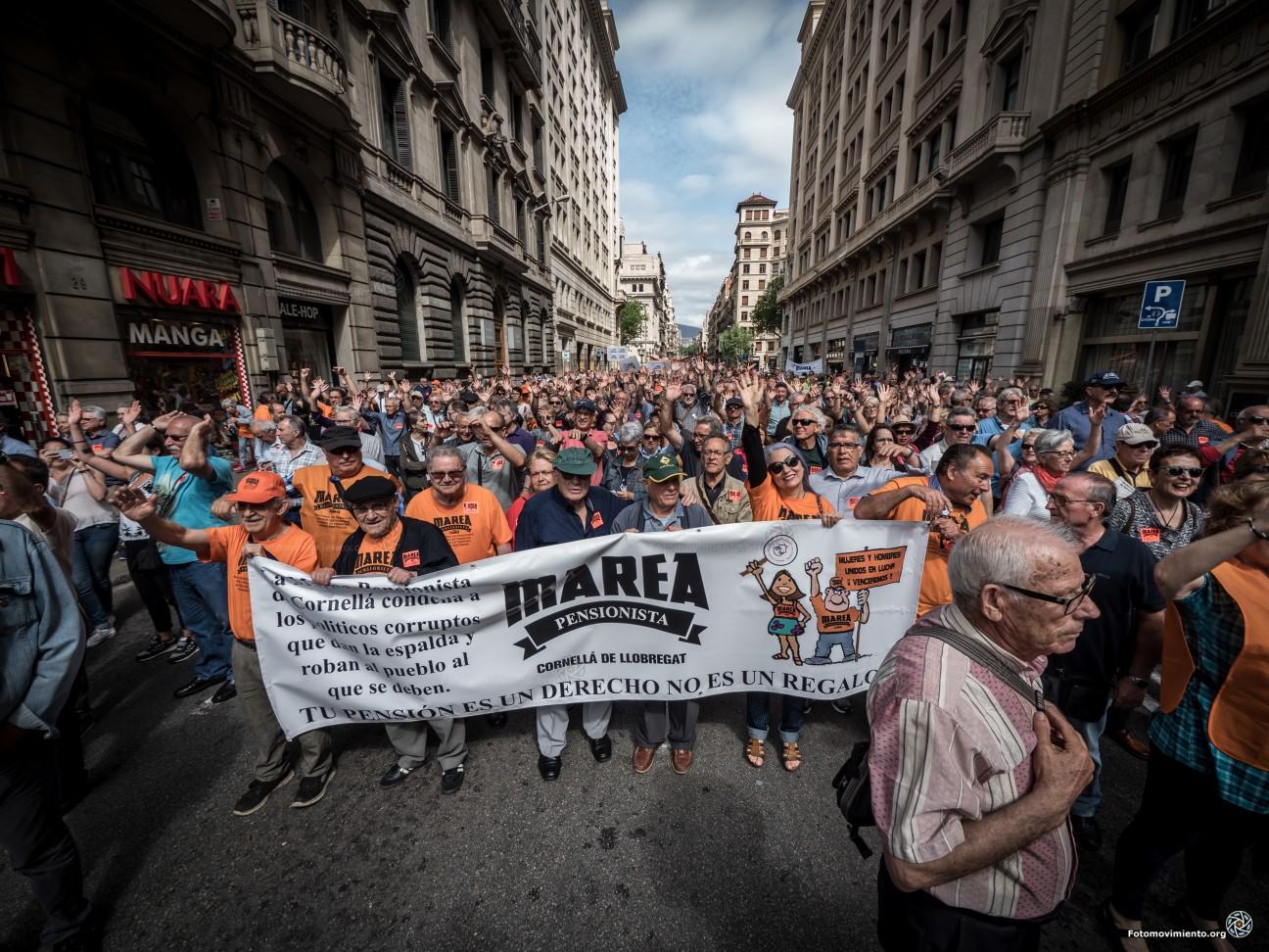 Manifestatie voor de pensioenen in Spanje. (Foto Jorge Lizana / Fotomovimiento)