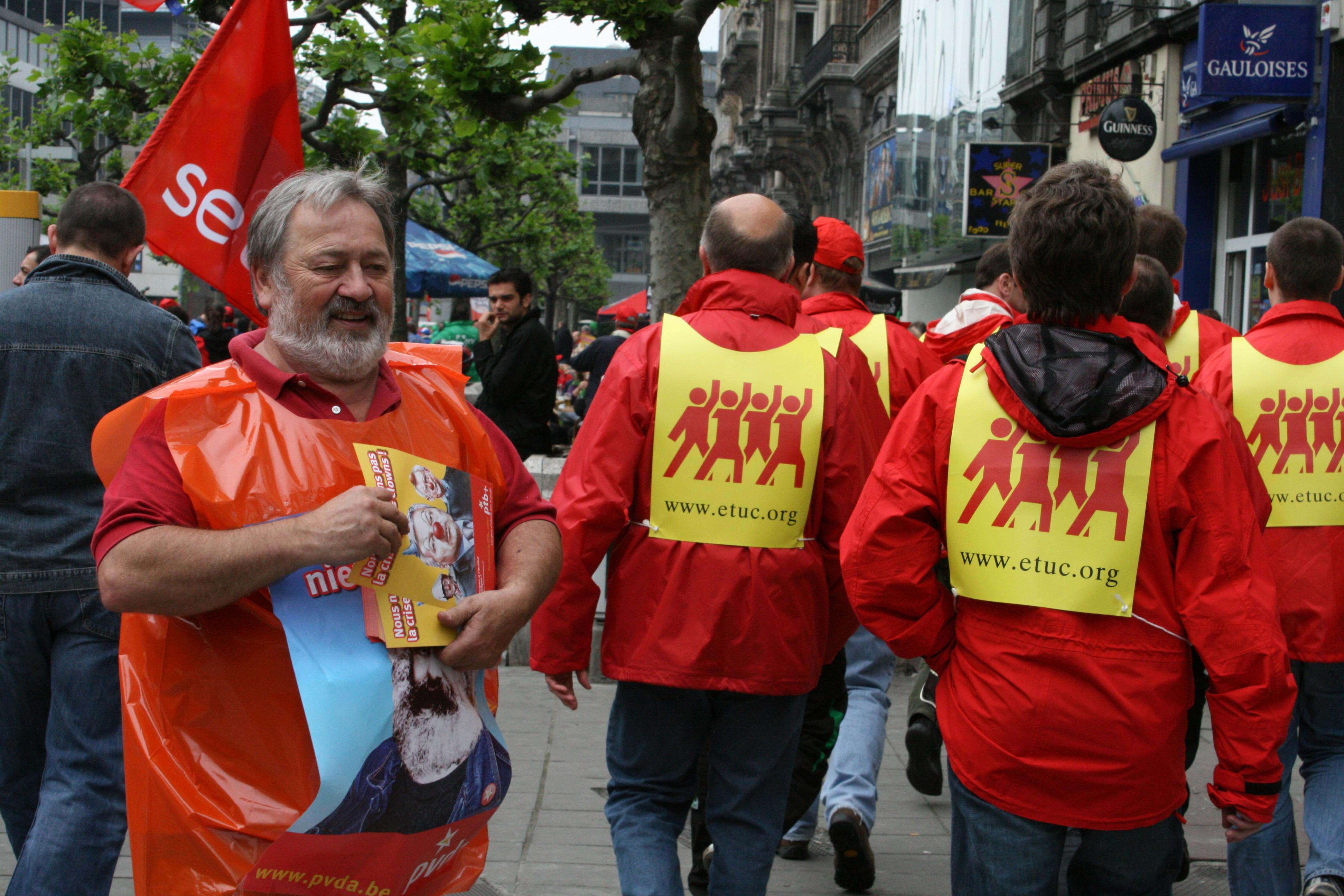 Stan op een vakbondsmanifestatie in Brussel (Foto, Solidair)